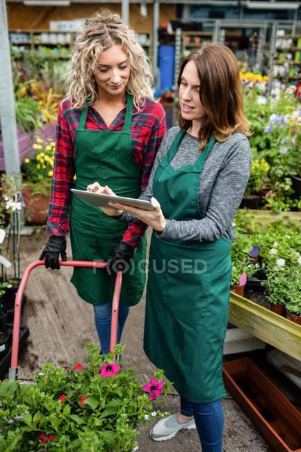 Два жіночий флористів, використовуючи цифровий планшетний в садовому центрі — стокове фото
