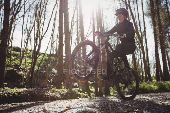 Mountain biker jumping while riding on dirt road in forest — Stock Photo