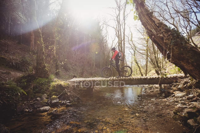 Mountain bike sul ponte pedonale sul torrente nel bosco — Foto stock
