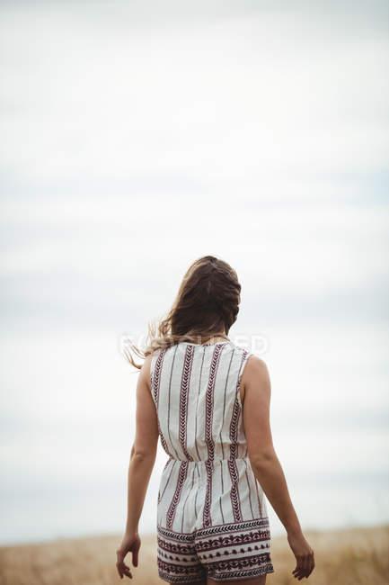 Vue arrière de la femme marchant à travers le champ de blé par une journée ensoleillée — Photo de stock