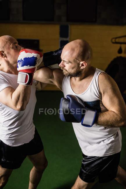Высокий угол зрения двух тайских боксеров практикующих бокс в тренажерном зале — стоковое фото