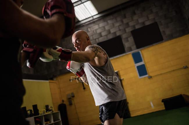 Низкий угол зрения двух тайских боксеров практикующих бокс в тренажерном зале — стоковое фото