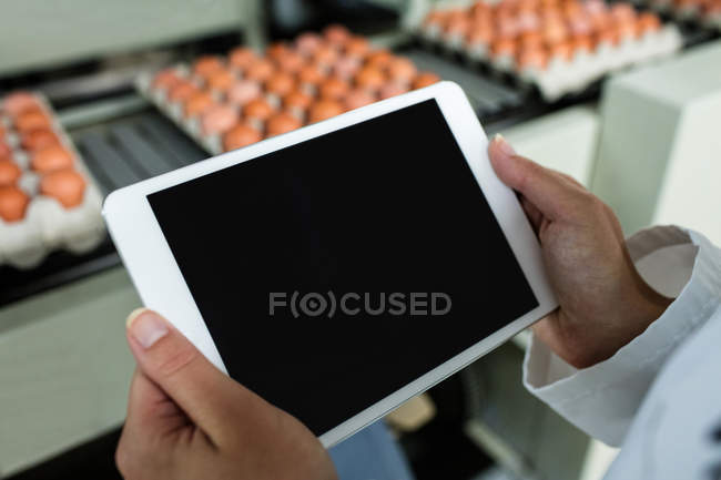 Cropped image of female staff using digital tablet next to production line in factory — Stock Photo