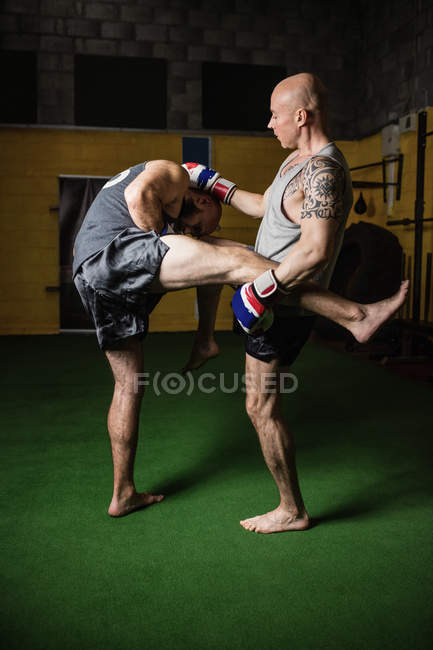 Two thai boxers practicing boxing in fitness studio — Stock Photo