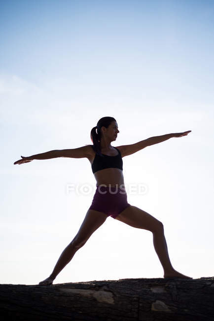 Низкий угол зрения женщины практикующей йогу на дровах в солнечный день — стоковое фото