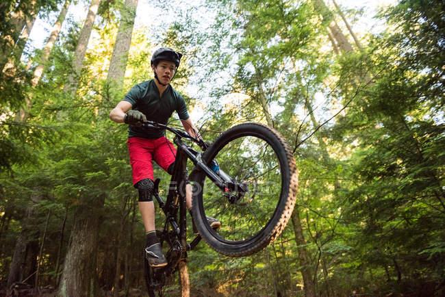 Чоловічий велосипедиста їзда на велосипеді в лісі на сонячний день — стокове фото