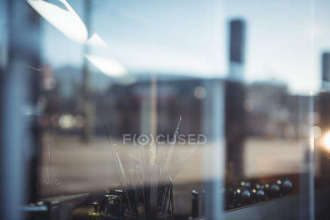 Various tools and equipment in workshop — Stock Photo