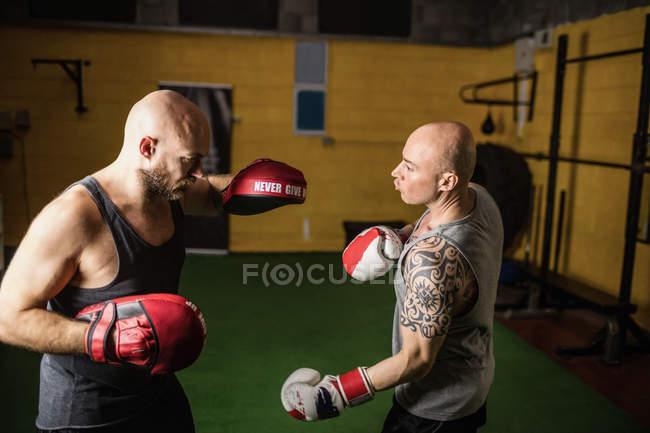 Два тайских боксера занимаются боксом в спортзале — стоковое фото