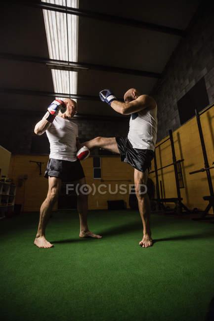 Blick auf zwei thailändische Boxer, die im Fitnessstudio boxen — Stockfoto