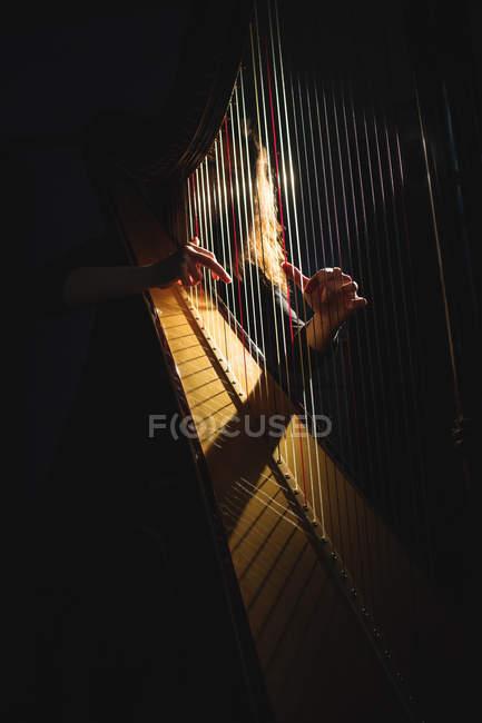 Femme attentive jouant de la harpe à l'école de musique — Photo de stock