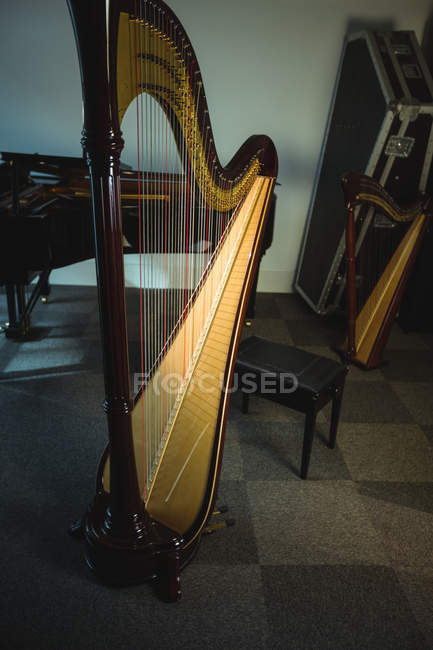 Classical harp in music school — Stock Photo