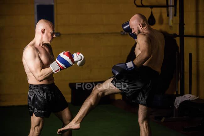 Вид сбоку двух тайских боксеров, тренирующихся в спортзале — стоковое фото