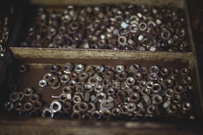 Різними болтів в контейнері на семінарі — стокове фото