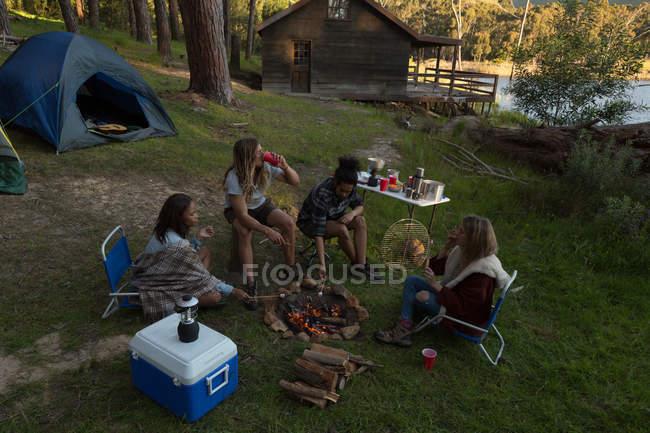 Grupo de jovens amigos se divertindo no parque de campismo — Fotografia de Stock