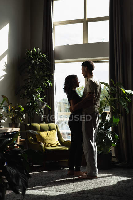 Romantic couple embracing each other at home — Stock Photo