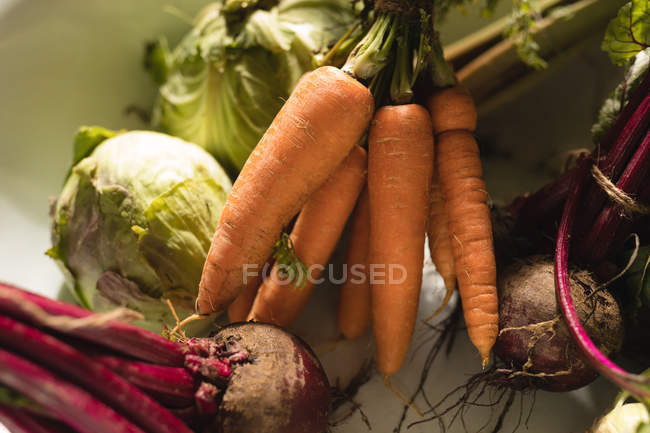 Крупный план овощей в корзине в супермаркете — стоковое фото