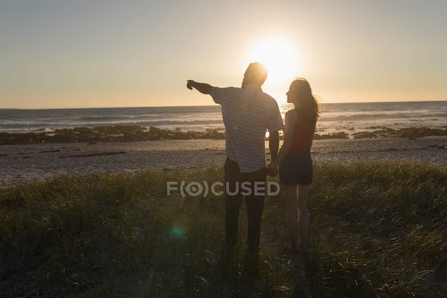 Rear view of couple holding hands and standing on beach — Stock Photo