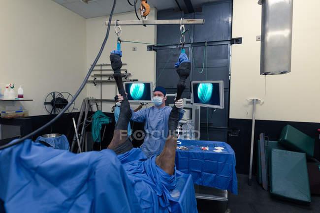 Мужчины хирург, изучения лошадь в театре операции в больнице — стоковое фото
