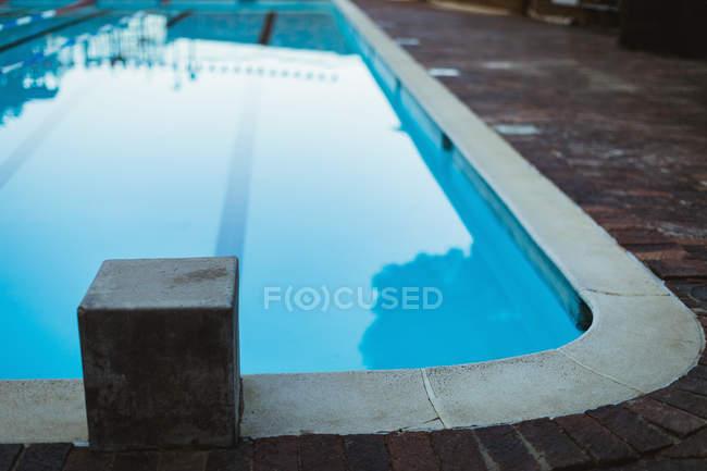 Empty starting block of the swimming pool — pool side, swim ...
