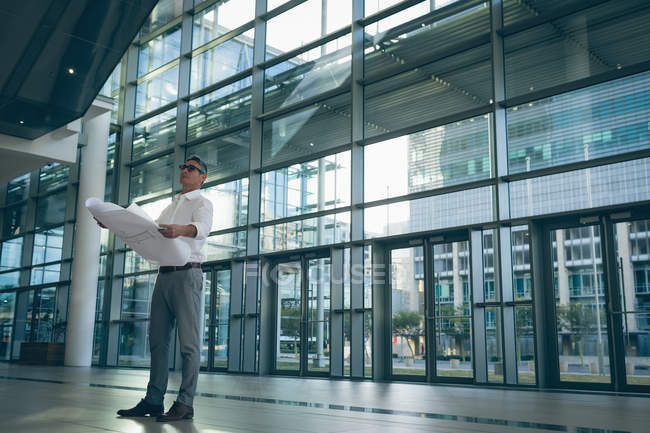 Low-angle of a concentrated businessman reading a blueprint plan in office next to big windows showing the city in the background — Stock Photo