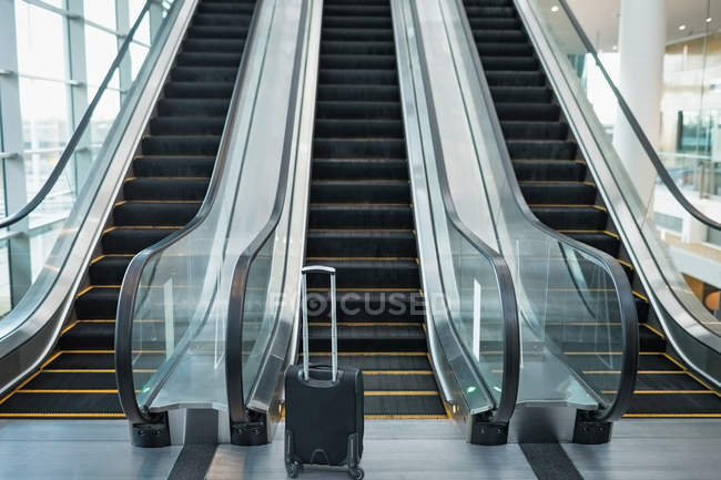 Front view of three escalators side by side in the modern office — Stock Photo