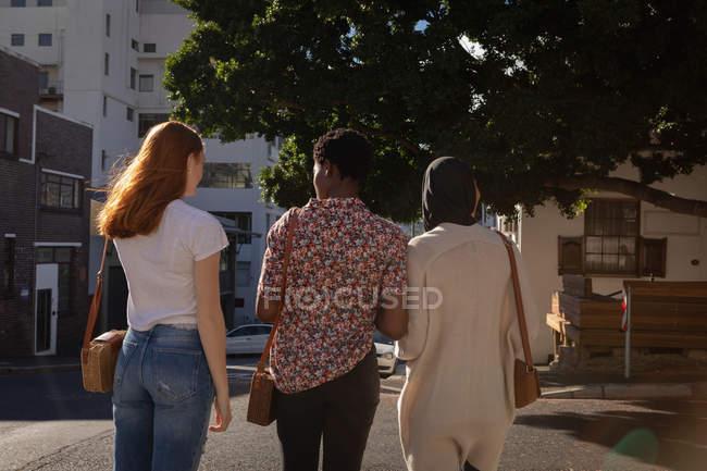 Rückansicht von Freundinnen gemischter Rassen, die auf der Straße miteinander interagieren — Stockfoto