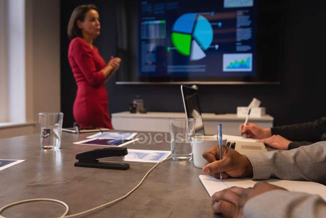 Vue latérale de femme d'affaires caucasienne donnant une présentation à ses collègues dans la salle de conférence — Photo de stock