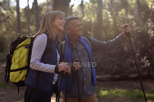 Side view close up of a mature Caucasian woman and man wearing backpacks and using Nordic walking sticks, stopping on a trail to admire the view and pointing to the distance during a hike. — Stock Photo