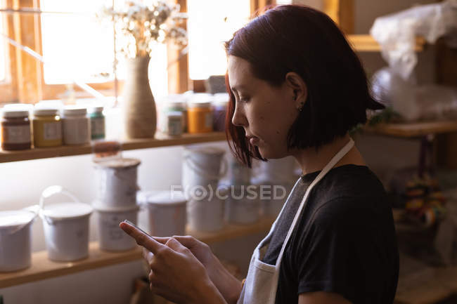 Side view close up of a young Caucasian female potter using a smartphone in a pottery studio — стокове фото