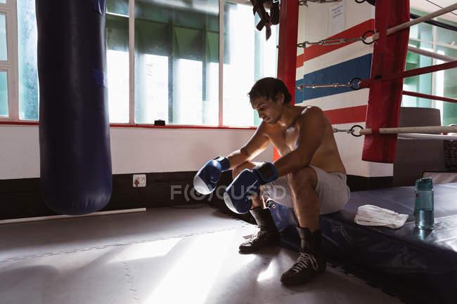 Seitenansicht eines jungen Mixed-Race-Boxers, der in einem Boxring sitzt — Stockfoto