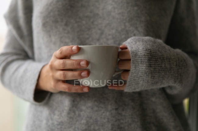 Vista frontal sección media de una mujer morena con un suéter gris sosteniendo una taza de café - foto de stock