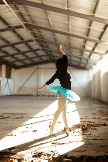 Seitenansicht einer jungen Balletttänzerin mit gemischter Rasse, die ein blaues Tutu und Spitzenschuhe trägt und im Sonnenlicht in einem leeren Raum einer verlassenen Lagerhalle auf ihren Zehen tanzt — Stockfoto