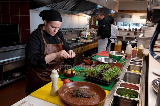Vista lateral de cerca de una joven chef caucásica decorando un plato en una cocina de restaurante, con otro personal de cocina ocupado trabajando en el fondo - foto de stock