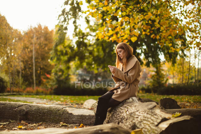 Frau benutzt Handy, während sie im Park auf einem Baumstamm sitzt. — Stockfoto