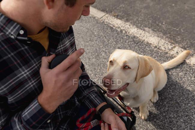 Високий кут зору крупним планом молодого Кавказького людини в інвалідному візку дивлячись на його собаку, сидячи на тротуарі дивлячись на нього — стокове фото