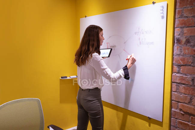 Side view close up of a young Caucasian woman holding a tablet computer and writing on a whiteboard while brainstorming in the office of a creative business — Stock Photo