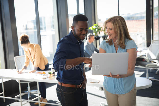 A Caucasian businesswoman and an African American businessman working in a modern office, using a laptop computer and talking, with their colleagues working in the background — Stock Photo