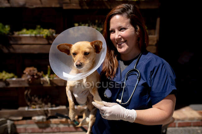 Front view close up of a female vet wearing blue scrubs at an animal shelter holding a rescued puppy in her arms on a sunny day. — Stock Photo