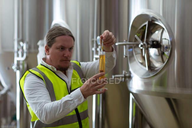 Белый человек, работающий на пивоваренном заводе, в бронежилете, осматривает стакан пива, проверяет его цвет. — стоковое фото