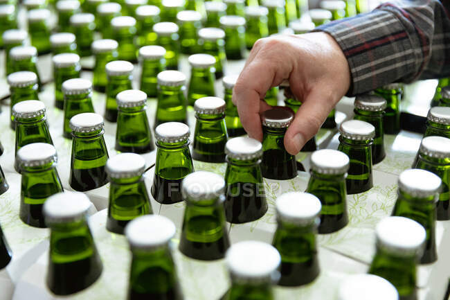 Close up mid section view of man working in a microbrewery, checking green glass bottles of beer ready for delivery. — Stock Photo