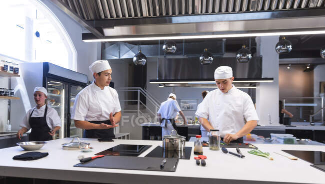 Grupo multiétnico de chefs que cocinan en una cocina moderna y ocupada, instruyendo a rebanar la comida. Clase de cocina en una cocina de restaurante. Taller de cocina. - foto de stock