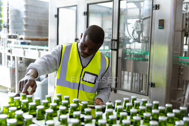 African American man worker working in a brewery, inspecting the bottles at the factory. Manufacturing and beer brewing. — Stock Photo