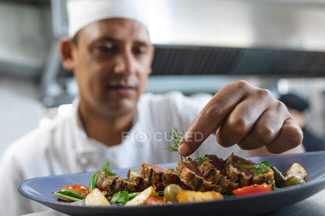 Mixed race professional chef finishing dish before serving with colleague in background. working in a busy restaurant kitchen. — Stock Photo
