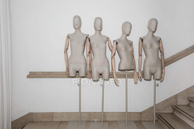 MILAN, ITALY - FEBRUARY 23: Mannequins are seen in the backstage just before Simona Marziali show during Milan Women's Fashion Week on FEBRUARY 23, 2020 in Milan. — Stock Photo