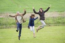 Счастливая семья веселится и прыгает в зеленом поле — стоковое фото
