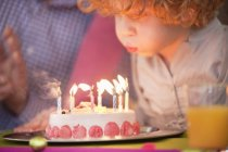 Cute little boy blowing out candles on birthday cake — Stock Photo