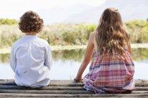 Vue arrière de frères et sœurs assis ensemble à la jetée en bois au lac dans la nature — Photo de stock