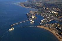 France, Norhern France, Pas-de-Calais, Calais. The aerial view of harbour — Stock Photo