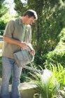 Hombre maduro regando plantas en el jardín - foto de stock