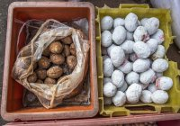 Eggs on street market of Chinese district, Myanmar, Yagon — Stock Photo